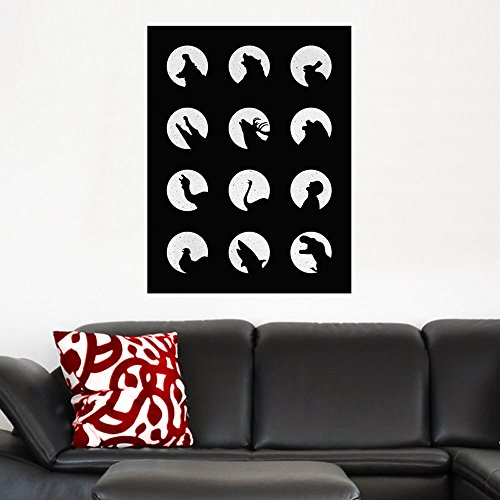 My Wonderful Walls Wolf's Night Off Black and White Animal and Moon Art Wall Sticker Decal by Florent Bodart, Small, Black