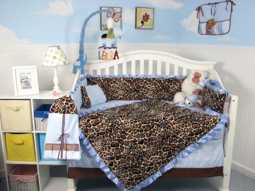 SoHo Soft Blue Giraffe Minky Baby Crib Nursery Bedding Set 13 pcs included Diaper Bag with -