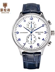 HOLUNS Portuguese Series Mens Quartz Wrist Watch Genuine Leather Strap Casual Watch with Gift Box