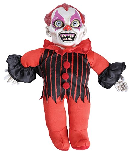 Horror Toy TALKING CREEPY KILLER CLOWN DOLL Scary Haunted House Prop Decoration ()