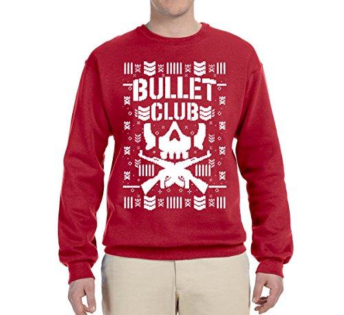 Bullet Club | Wrestling Bone Soldier | Mens Ugly Christmas Crewneck Graphic Sweatshirt, Red, Small