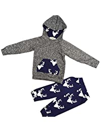 Susenstone 1Set Toddler Baby Clothes Deer Hooded Tops Jacket +Pants Outfits