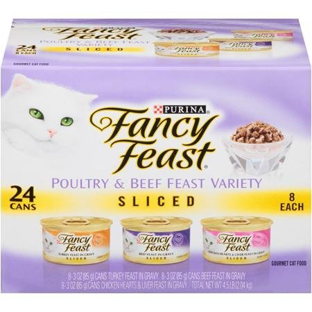 Fancy Feast Sliced Poultry & Beef Feast Variety Cat Food 24-3 oz. Cans [Contains: 8 each: Sliced Turkey Feast, Sliced Beef Feast, & Sliced Chicken Hearts & Liver Feast]