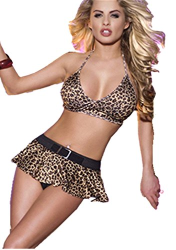 Back Clubwear Halter Top (Women Sexy Clubwear with Halter Bra Top Back Tied and Matching Skirt, Medium)