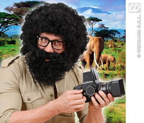 Mens Black Afro Wig & Beard Troll Alan From The Hangover Explorer Fancy Dress by Home & Leisure Online for $<!--$70.49-->