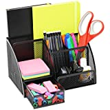 Mesh Office Desk Organizer with 3 Compartments + 3 Slots + Drawer - Can Be Used On Desktop | Table | Counter in Kitchen or Work Space - Black