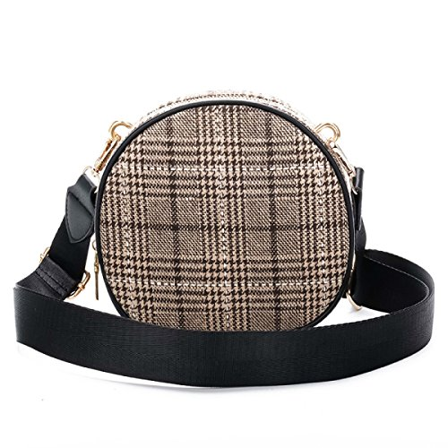 Borsa Tracolla grey Spalla Larga Yellow In Fashion Mano Rotonda Tartan Stripes Larga A aZnqaA6