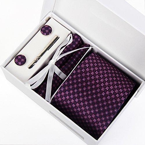 Zakka Republic Mens Business Tie, Cufflinks, Pocket Square and 3