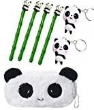 Panda Gel Ink Pens Set of 4 with One Panda Pen Case Pencil Bag Two Panda Keychain for Office School Writing Supplies (Color-1)