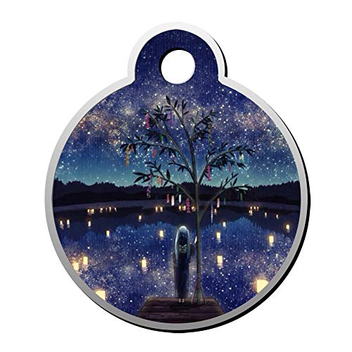 WWQE-42 Starry Night Girl Custom Pet' Names & ID Number Front & Back Tags Personalized Dog & Cat Tags Circular Shape]()