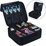 Travel Makeup Train Case Samtour Makeup Cosmetic Case Organizer Portable Artist Storage Bag 10.3'' with Adjustable Dividers for Cosmetics Makeup Brushes Toiletry Jewelry Digital accessories Black