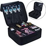 Relavel Travel Makeup Train Case Makeup Cosmetic Case Organizer Portable Artist Storage Bag 10.3'' with Adjustable Dividers for Cosmetics Makeup Brushes Toiletry Jewelry Digital accessories Black