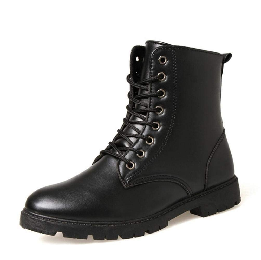 Black Fuxitoggo Male boots high to help round Martin boots with cashmere (color   Brown, Size   39)