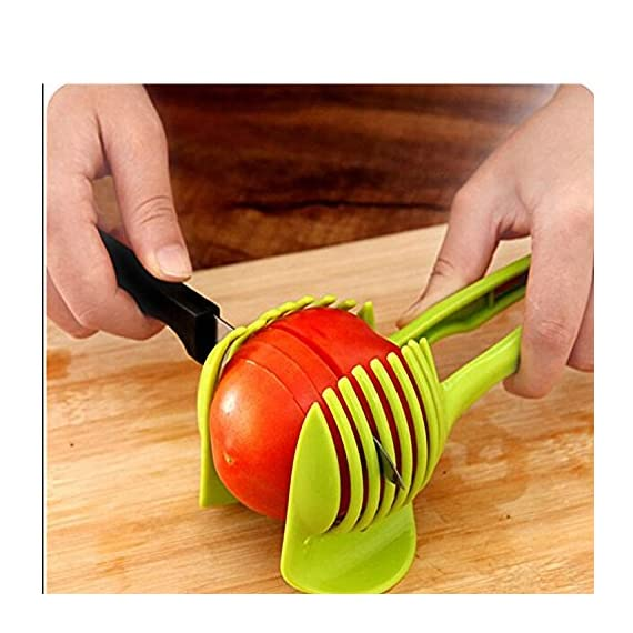 "Generic Tomato Slicer Multifunctional Handheld Tomato Round Slicer Fruit Vegetable Cutter Lemon Shreadders Slicer 1 Mold Size :18.5 x 8 CM /7.3 ""X 3.1"" Easy to operate Safe and reliable"