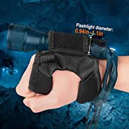 ORCATORCH Diving Flashlight Glove Hands-Free Flashlight Holder Universal Adjustable Arm Strap Scuba Dive Light