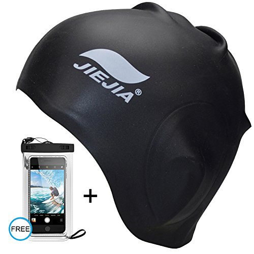 Silicone Swim Cap for Long Hair - Black Swimming Hat for Women Ladies Men Adult - Waterproof Swim Caps that Keep Hair Dry - Non Latex Swimming Hair Cap - Large Swimming Pool Cap | Free Waterproof Case