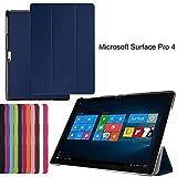 Brain Freezer J Classic Premium Luxury PU Leather Flip Stand Back Case Cover for Microsoft Surface Pro 4(Blue)