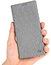 LUSHENG Fodral till Xiaomi Mi 10T 5G, magnetisk flip plånbok bokstil PU-läder skyddsfodral med kortspår och stativfunktion för Xiaomi Mi 10T 5G / 10T Pro 5G 6,7 tum - grå