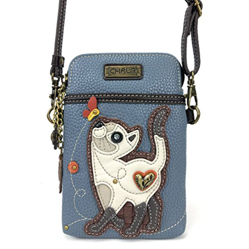 Chala Crossbody Cell Phone Purse-Women PU Leather Multicolor Handbag with Adjustable Strap - Slim Cat Blue ()