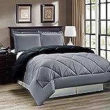Down Alternative Reversible Comforter Set FULL/QUEEN/Reversible in Grey/Black