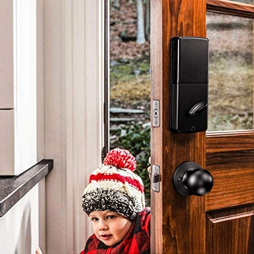 Keypad Deadbolt, Tacklife Electronic Keypad Lock Single Cylinder Front Door Handleset with Polo Knob Featuring 1-Touch Motorized Locking, Auto Locking and Easy to Install, Matte Black- EKPH1A