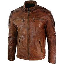 ABz Leathers Mens Biker Vintage Motorcycle Cafe Racer Brown Distressed Leather Jacket