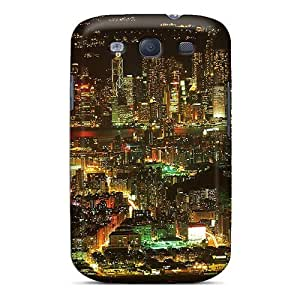 AngelaMs KqPIC5704 Case Cover Galaxy S3 Protective Case Beautiful Metropolis Night Lights