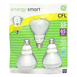 GE Soft White Light Bulbs - 3/15 Watt Bulbs (28909,FLE15/2/R30/SW/CD)cfl energy saving