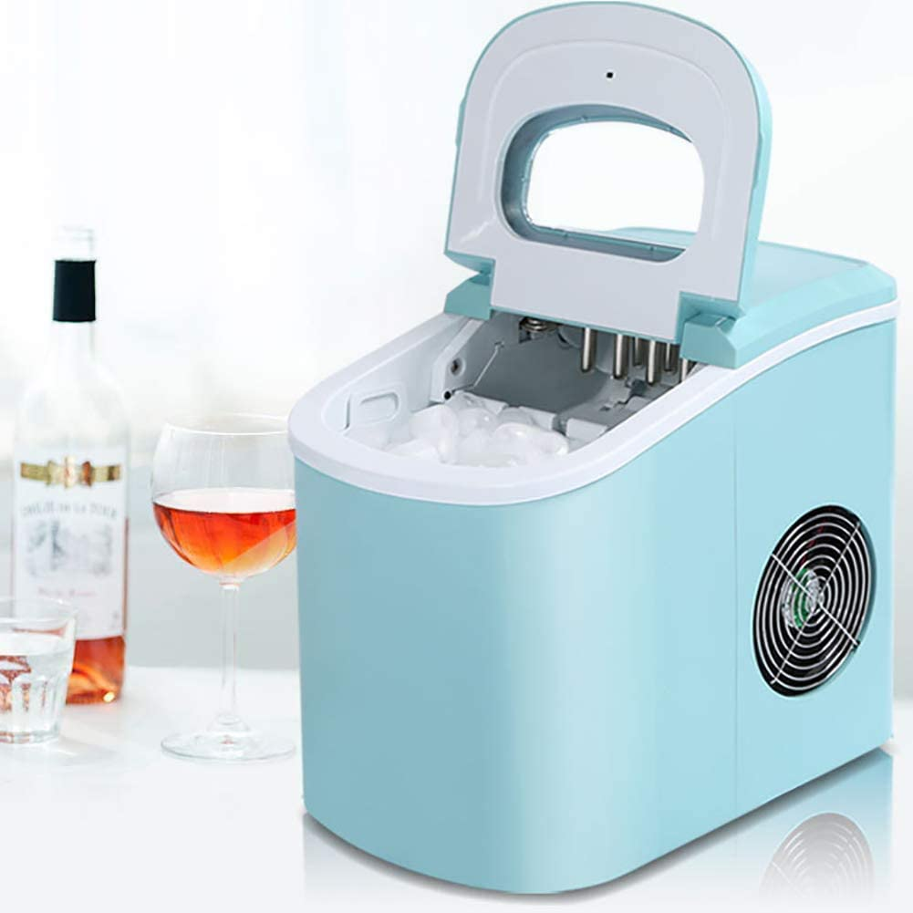LUCKYYAN 15KG Home Mini Ice Machine, Automatic Ice Maker, Electric Ice Making Machine, Countertop Ice Maker Compact Clear Ice Cubes for Kitchen Home Bars,Blue