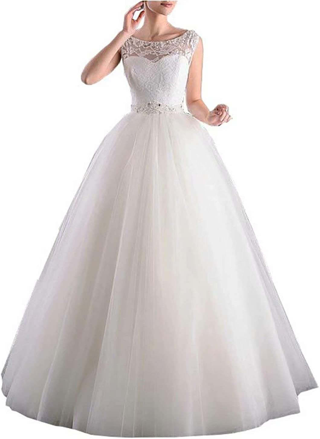 Skynia Women Floor-Length White Chiffon with Lace Top A-line Wedding Dresses Elegant Low V-Back Wedding Bridal Gown