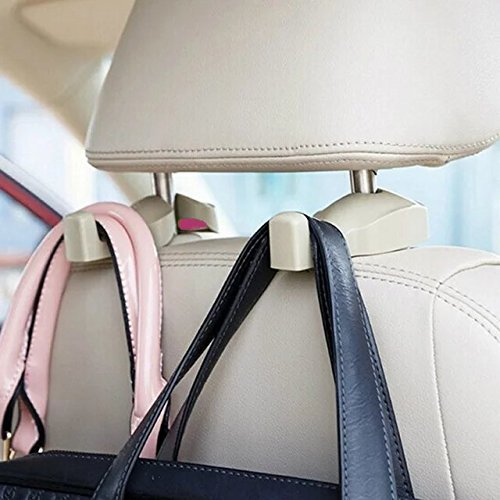 (IPELY Universal Car Vehicle Back Seat Headrest Hanger Holder Hook for Bag Purse Cloth Grocery (Beige -Set of)