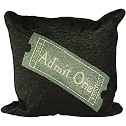 Stargate Decorative Home Theater Movie Cinema Admit One Theme Polyester and Cotton Square Throw Pillows, 17 x 17 Inch, Black