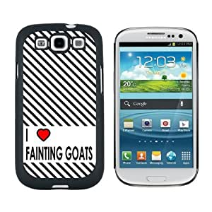 I Love Heart Fainting Goats - Snap On Hard Protective Case for Samsung Galaxy S3 - Black by ruishername