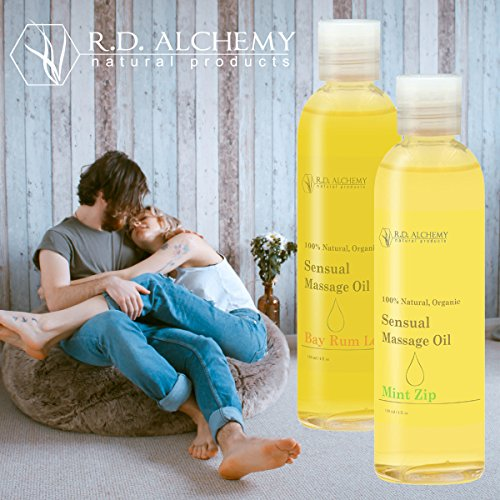 100% Natural & Organic, Edible Massage Oil for Body. Essential oils perfect for couples. Erotic flavor: Bay Rum Love - sends the right message.