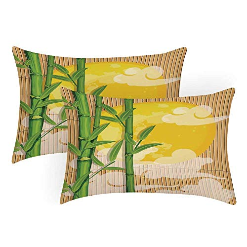 TecBillion Asian Comfortable Pillow Covers,Bamboo Tree Branches Full Moon and Abstract Curvy Clouds Stars Eastern for Bedroom Living Room,Queen(30