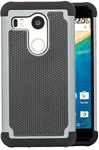 LG Nexus 5X Case, Dual-layer Heavy Dute Rugged Matte Shock Proof Full Body Protective Cover for Google Phone LG Nexus 5X By HOOH (Gray) from HOOH