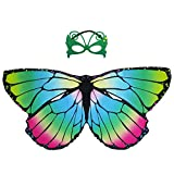 Kids Fairy Butterfly Wings Costume and Mask for Girls Dress Up Princess Pretend Play Party Favors (Rainbow 2)