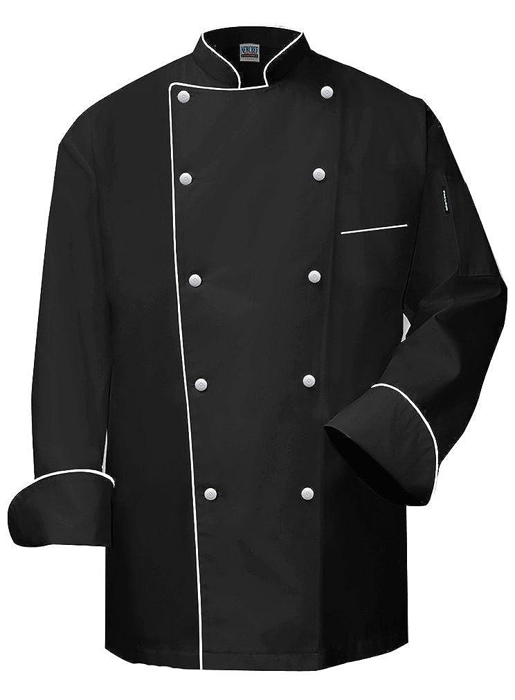 Newchef Fashion VIP Black Chef Coat White Trim