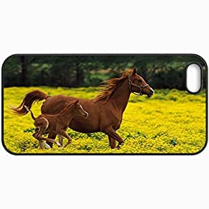 Customized Cellphone Case Back Cover For iPhone 5 5S, Protective Hardshell Case Personalized Horse Stallion Grass Jump Black