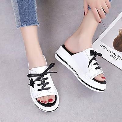LIXIONG Zapatillas Mujer Verano Moda Fondo Grueso Tumbona Casual Resistente al Desgaste con Alto 5.5cm, 2 Colores -Zapatos de Moda (Color : Negro, ...
