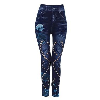 aceb178ee Jeans pour Femmes Slim Taillie Haute Imprimé Dame Casual Fleur Trous ...