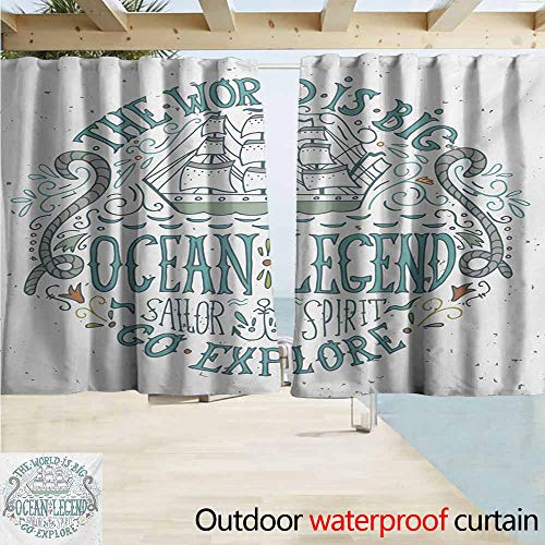 Zmacdk Explore Outdoor Curtain Panel for Patio Vintage Nautical Design with Ocean Legend Sailor Spirit Quote and a Hand Drawn Ship Room Darkening Thermal W72 xL63 Multicolor
