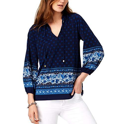 - Michael Michael Kors Womens Plus Sunny Batik Printed Pullover Peplum Top Navy 1X