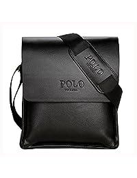 VICUNA POLO Men Messenger Bags Business Bag for Men Leather Shoulder Bag (small, black)