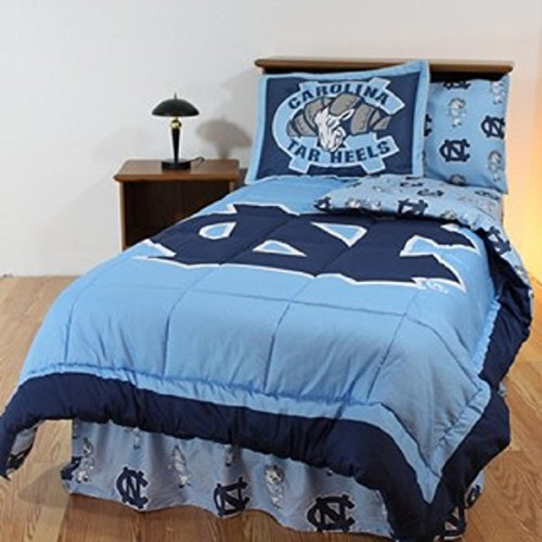 North Carolina Tarheels (5) Piece QUEEN Size Reversible Comforter Set - Set Includes: (1) QUEEN Size Comforter, (2) Shams and (2) Standard Size Solid Color Pillowcases (Comforter Carolina)