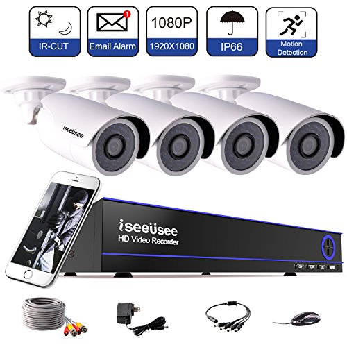 ISEEUSEE 1080N 4CH Security Camera System, AHD DVR Video Surveillance Kit with (4) HD 2.0MP 1980TVL 1080P Waterproof Bullet CCTV Cameras, 100ft Night Vision, NO Hard Drive (Kit Lowering System)