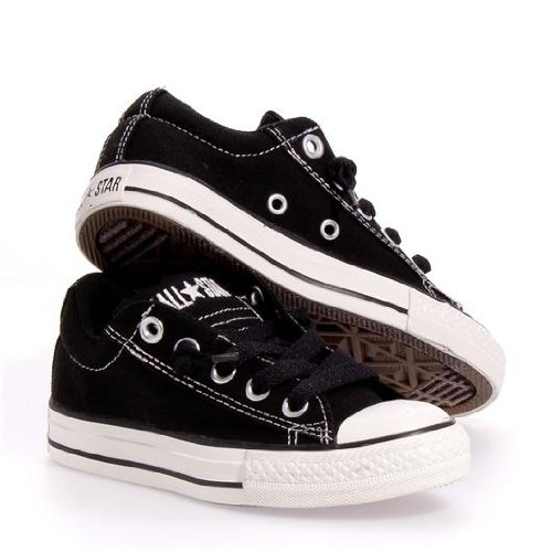 CONVERSE Chuck Taylor Street Low Top Fashion Sneaker Shoe - Black - Boys - 13