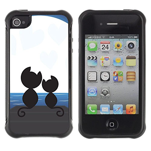 Apple Iphone 4 / 4S - Cats Love Couple Romance Moonlight Art Black