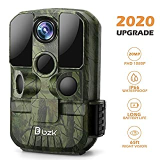 BZK Trail Game Camera - 20MP 1080P HD Hunting Cam with Night Vision and 120° Wide Angle Lens for Wildlife Scouting, Home Security