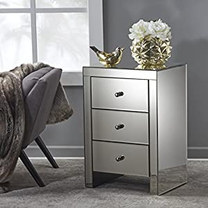 Fiona Classic Mirror Finished 3 Drawer Side Table